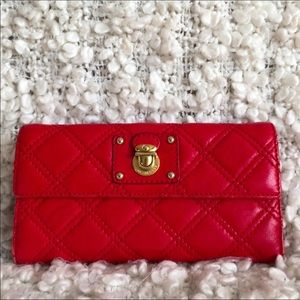Marc Jacobs Italy Red Quilted Leather Wallet